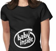 Baby Inside - White Womens Fitted T-Shirt