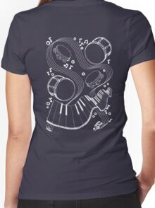 Musical Massage (white print) Women's Fitted V-Neck T-Shirt