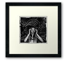 Insane girl searching for wifi on the moon Framed Print
