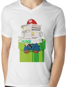 Mario on the Warp Pipe Mens V-Neck T-Shirt