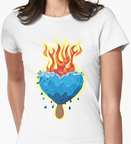 Heart of Ice burning in flames Womens Fitted T-Shirt