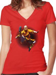 Shaolin Monk -Waaaaaaaaaaaaaah ! Women's Fitted V-Neck T-Shirt