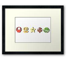 Coloured Mario Items (shadow) Framed Print
