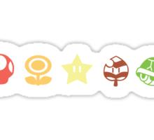 Coloured mario items  Sticker