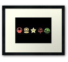 Coloured mario items  Framed Print