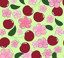 Pattern of cherry and cherry blossom by AllaRi
