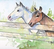 Horses Watercolor Sketch by OlechkaDesign