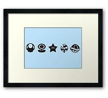 Black mario items Framed Print