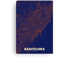 Barcelona Streets Map Canvas Print