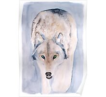 Hunting Wolf Watercolour Painting Poster