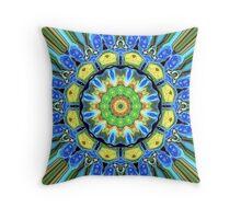 Blue Green Yellow Mandala   Throw Pillow