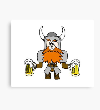 Funny Viking with Fly on Nose Canvas Print
