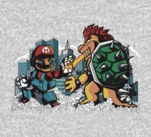 Ultra Mario Vs. Bowsilla by MEKAZOO