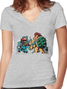 Ultra Mario Vs. Bowsilla Women's Fitted V-Neck T-Shirt