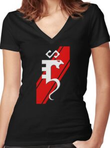 Serpentine Red Stripe Women's Fitted V-Neck T-Shirt