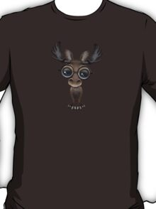 Cute Curious Baby Moose Nerd Wearing Glasses on Blue T-Shirt