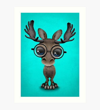 Cute Curious Baby Moose Nerd Wearing Glasses on Blue Art Print
