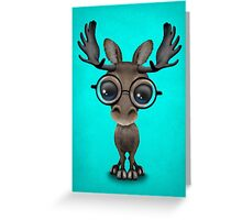 Cute Curious Baby Moose Nerd Wearing Glasses on Blue Greeting Card