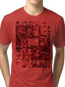 Red and Black Blocks Tri-blend T-Shirt