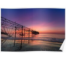 Totland Pier Caught In The Afterglow Poster