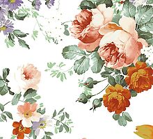 Romantic Red Orange Retro Girly Roses Floral by Maria Fernandes