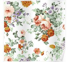 Romantic Red Orange Retro Girly Roses Floral Poster