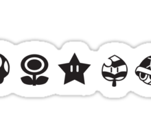 Black mario items (white shadow) Sticker
