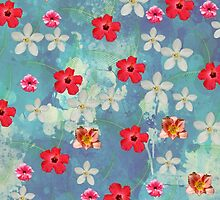Cute Watercolor Tropical Red White Flowers  by Maria Fernandes