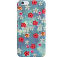 Cute Watercolor Tropical Red White Flowers  iPhone Case/Skin