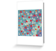 Cute Watercolor Tropical Red White Flowers  Greeting Card