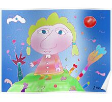 """Girl on hill""-Children Colorful Fantasy Stories Poster"