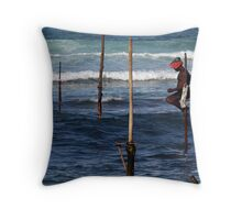 Stick Fisherman, Sri Lanka Throw Pillow