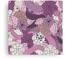 Vintage Romantic Pink White Purple Brown Floral Canvas Print