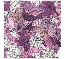 Vintage Romantic Pink White Purple Brown Floral Poster