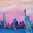 Manhattan Skyline with Statue of Liberty by artshop77