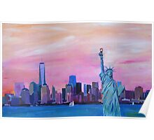 Manhattan Skyline with Statue of Liberty Poster