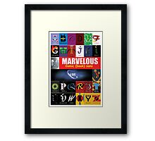 A - Z Iconic Marvelous comic book sans & serifs Charactography  Framed Print