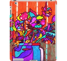 glass jar of flowers line art iPad Case/Skin