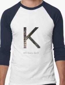 MS Sans Serif Font Iconic Charactography - K Men's Baseball ¾ T-Shirt