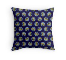 Blue and Yellow Abstract Polka Dots Throw Pillow