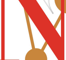 Nova Bodoni Font Iconic Charactography - N Sticker