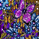 Incense, Blue Daisies & Butterflies by Steve Farr