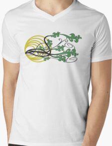 Floral (green) Mens V-Neck T-Shirt