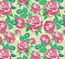 Shabby Chic Pink And Green Roses by Maria Fernandes