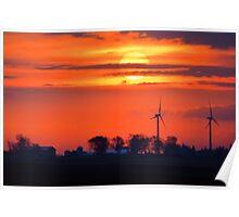 Windpower Sunrise Poster