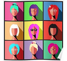 Illustration of Women Faces Poster