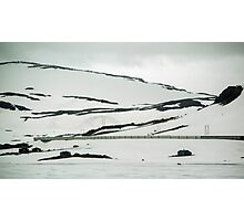 Railway ahead protected from drifts by cover between Bergen and Oslo Norway 198406140014  Photographic Print