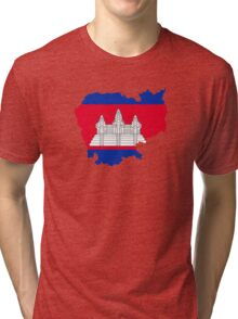 Flag Map of Cambodia  Tri-blend T-Shirt