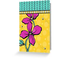 Floral Dreamweaver Pattern Pink and Yellow Greeting Card