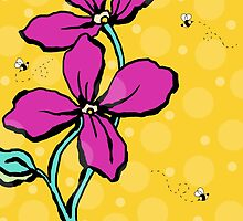 Floral Dreamweaver Pattern Pink and Yellow by veggiemuse